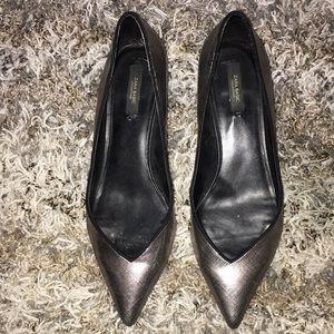 Zara Basic Silver Kitten Heels